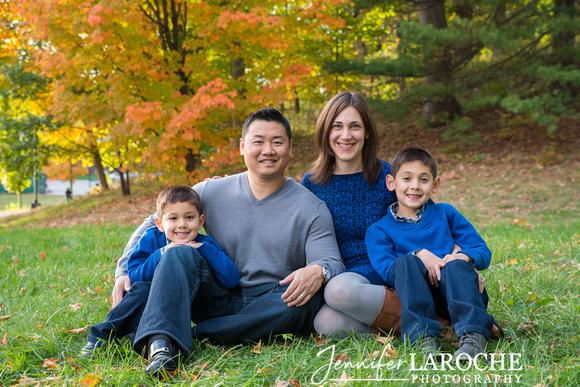 Family of four fall portrait in Wellesley MA Jennifer LaRoche Photographer