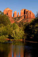 vertical image cathedral rock reflection sedona arizona