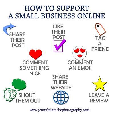 How to Support Small Business Online Graphic by Jennifer LaRoche Photography