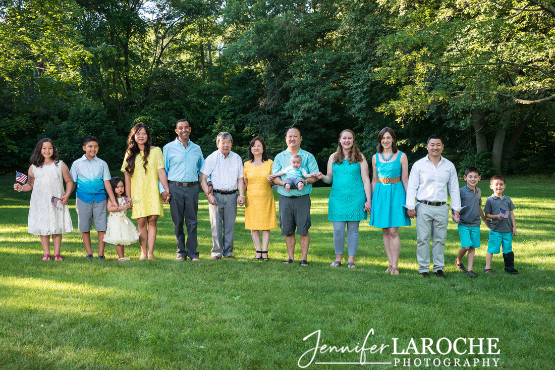 Large Family Group Summer Portrait, Wellesley, MA