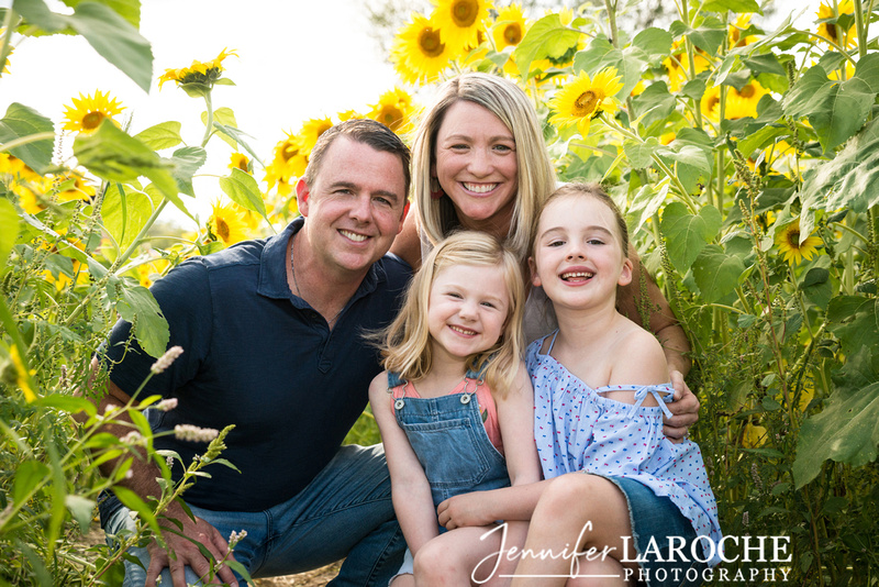 Family of Four Sunflower Portrait, Newbury, MA