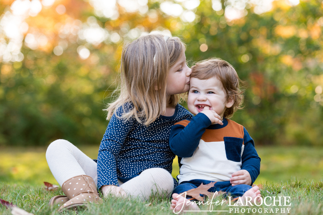 Fall Portrait Sister Kissing Baby Brother