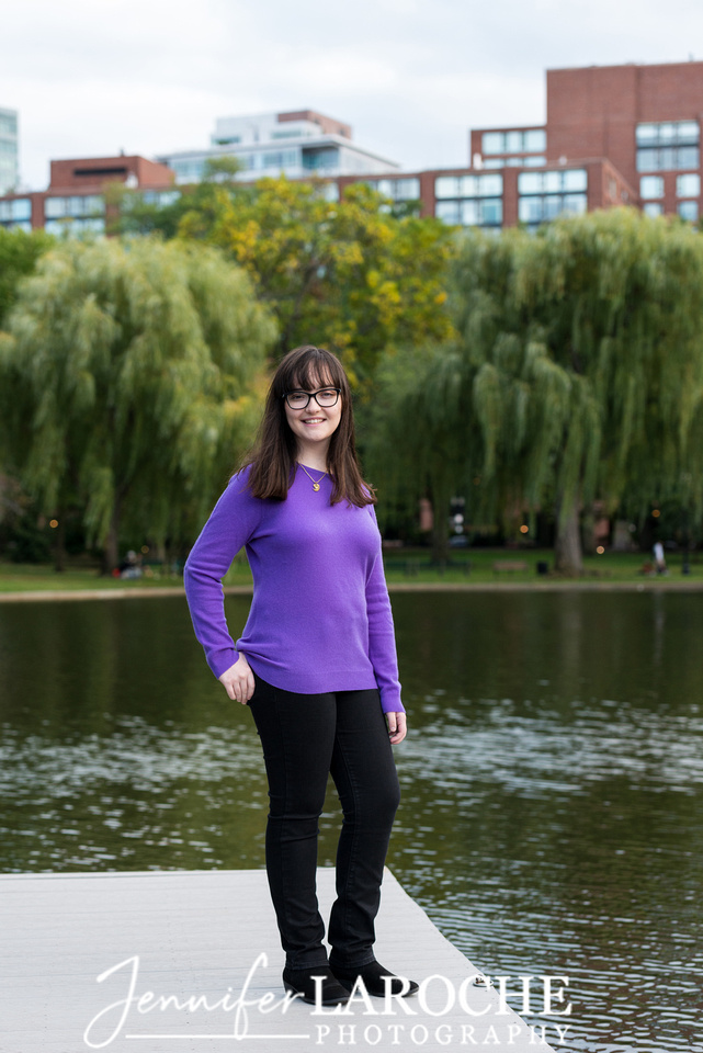 Senior Picture on Boston Public Garden Dock