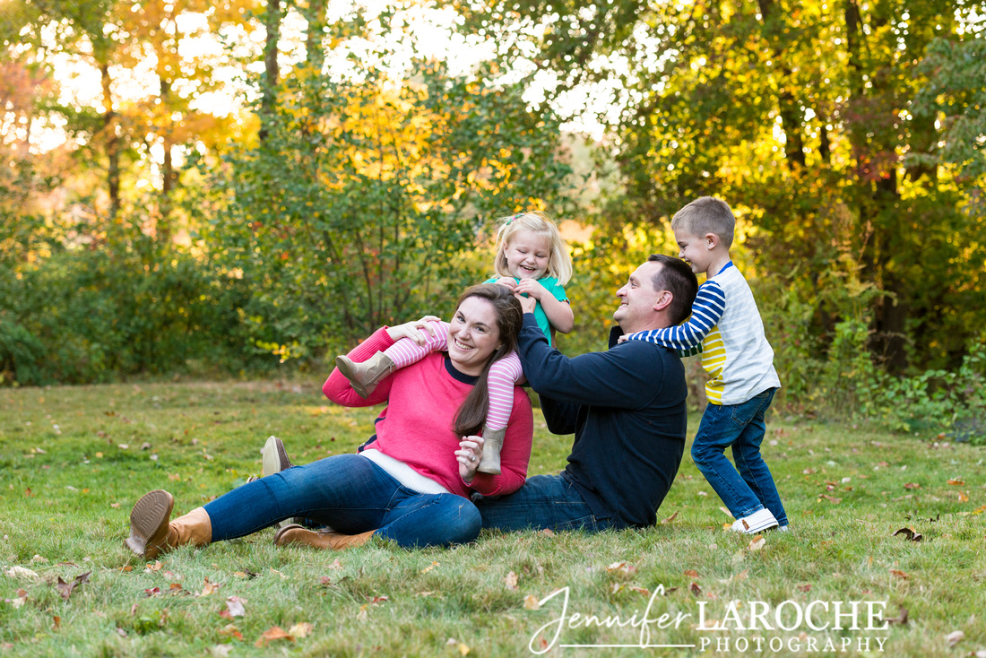Playful Candid Fall Family Picture