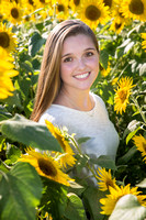 senior portraits in the sunflowers at colby farm