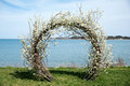 table and tulip moongate cherry blossom wedding arch