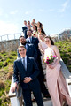 bridal party portrait on stairs